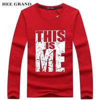 HEE GRAND Men Fashion Full Sleeve T Shirts High Quality Whole Cotton Material O Neck Durable