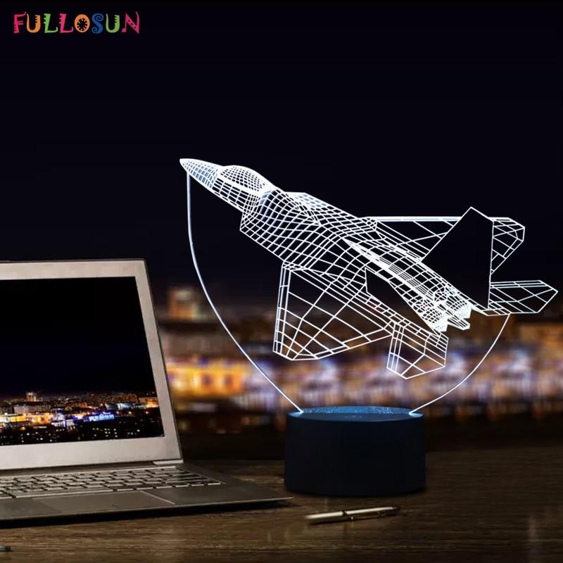 Verbazingwekkende 3D visuele lamp vliegtuigvorm met 7 kleuren Touch - Nachtlampje