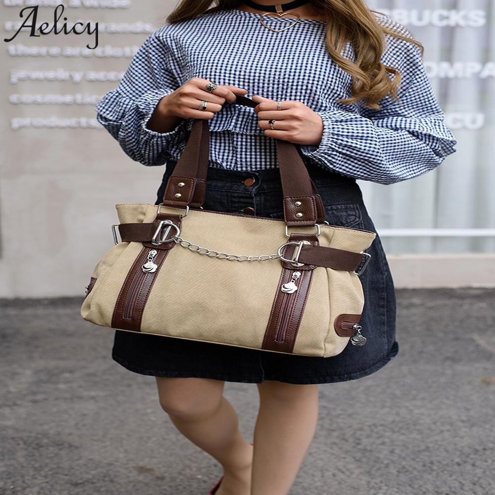 Bags Girls Canvas Tote Handbags Lady Girls Vintage Soft 35Cm Zipper Buckle Travel Shopping Handbag