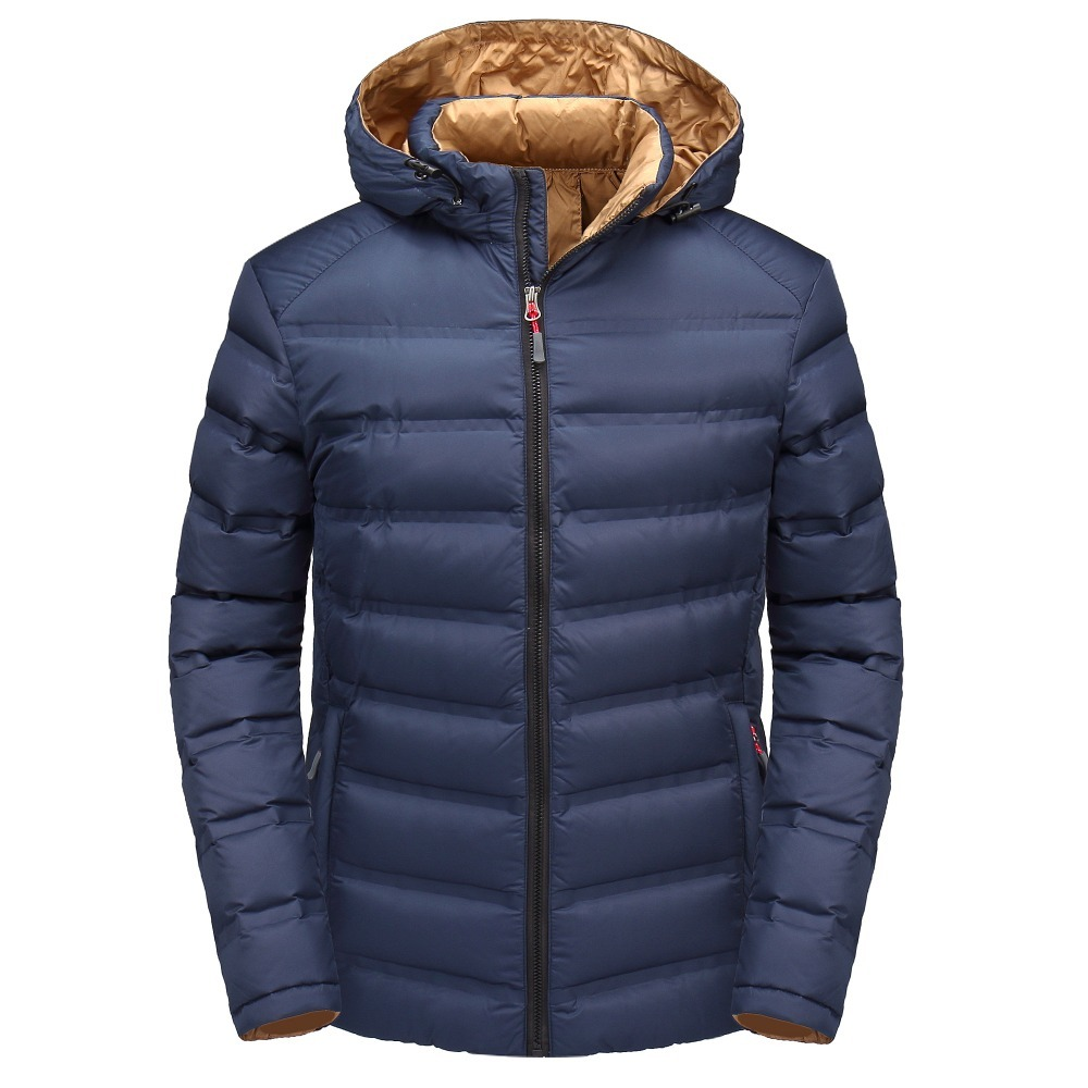 IN-YESON Warm Mens Down Jackets Windbreaker Casual Outerwear Down Coats Thick Hooded Winter Duck Down Jacket For Man M-4XL