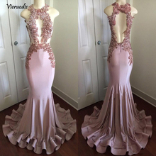 Real Picture Black Girl Long Prom Dress O-Neck See Through Sheer Lace Top Flowers Satin Pink Mermaid Dresses 2019