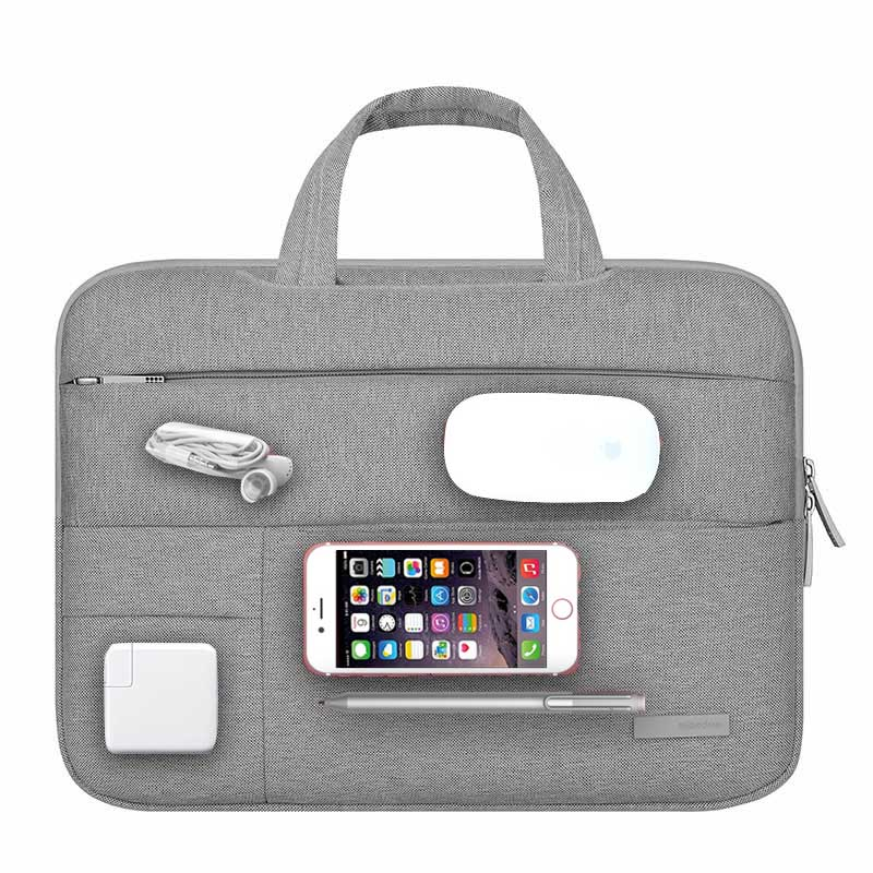 Women Men Laptop Bag 13.3 14 15.6 inch for Lenovo Notebook 15 11.6 Sleeve Waterproof Shockproof Polyester Gray Computer Handbag