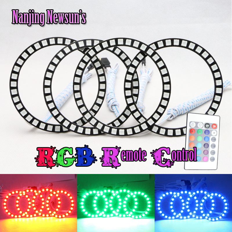 120mm RGB ANGEL EYES LED Changeable Multi-color RGB 5050 Flashing Halo Rings Remote Kit Car Auto Headlight for BMW E30 E32 E34 4pcs set yellow car ccfl halo rings led angel eye headlight kits for bmw e32 e34 e30 e39oem j 4164