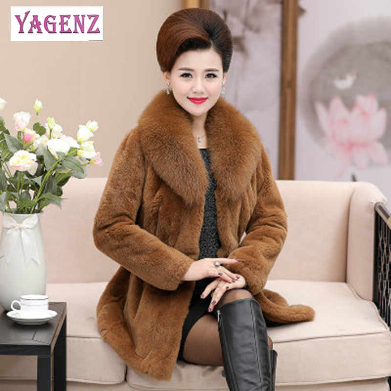 Winter Women Faux Fur Coat High Quality Long Imitation Rabbit Fur Coat Thickening Plus size Ms Fake Fox Fur Collar Fur Coat 6XL