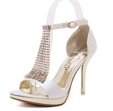 Size 4~8 Wedding ShoesTassel Women Shoes Bridal Sexy Summer High Heels Pumps zapatos mujer (Chenk Foot Length)