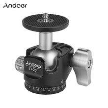 Andoer D 25 CNC Machining Aluminum Alloy Double Notch Ball Head Mini Ballhead for Canon Nikon Sony DSLR ILDC Cameras
