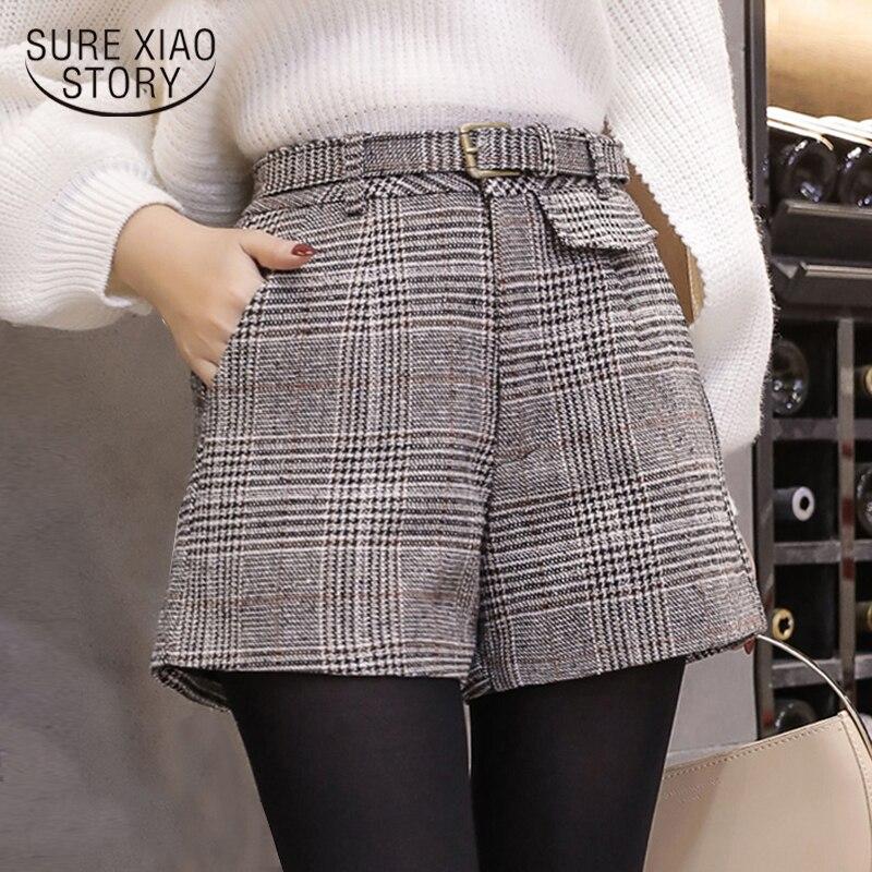 winter women shorts fashion 2018 new high waist plaid shorts casual plus size wool shorts women clothing womens shorts C934 30 Шорты