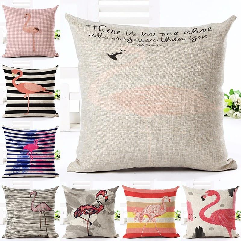 Moda Üslubu Tropik Flamingo Çap Atılan Yastıq Ev Yastığı - Ev tekstil - Fotoqrafiya 1
