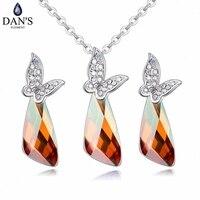 DAN'S Element 6 colores auténticos cristales austríacos mariposa del Color del oro blanco collar pendientes joyería conjuntos para las mujeres 129608