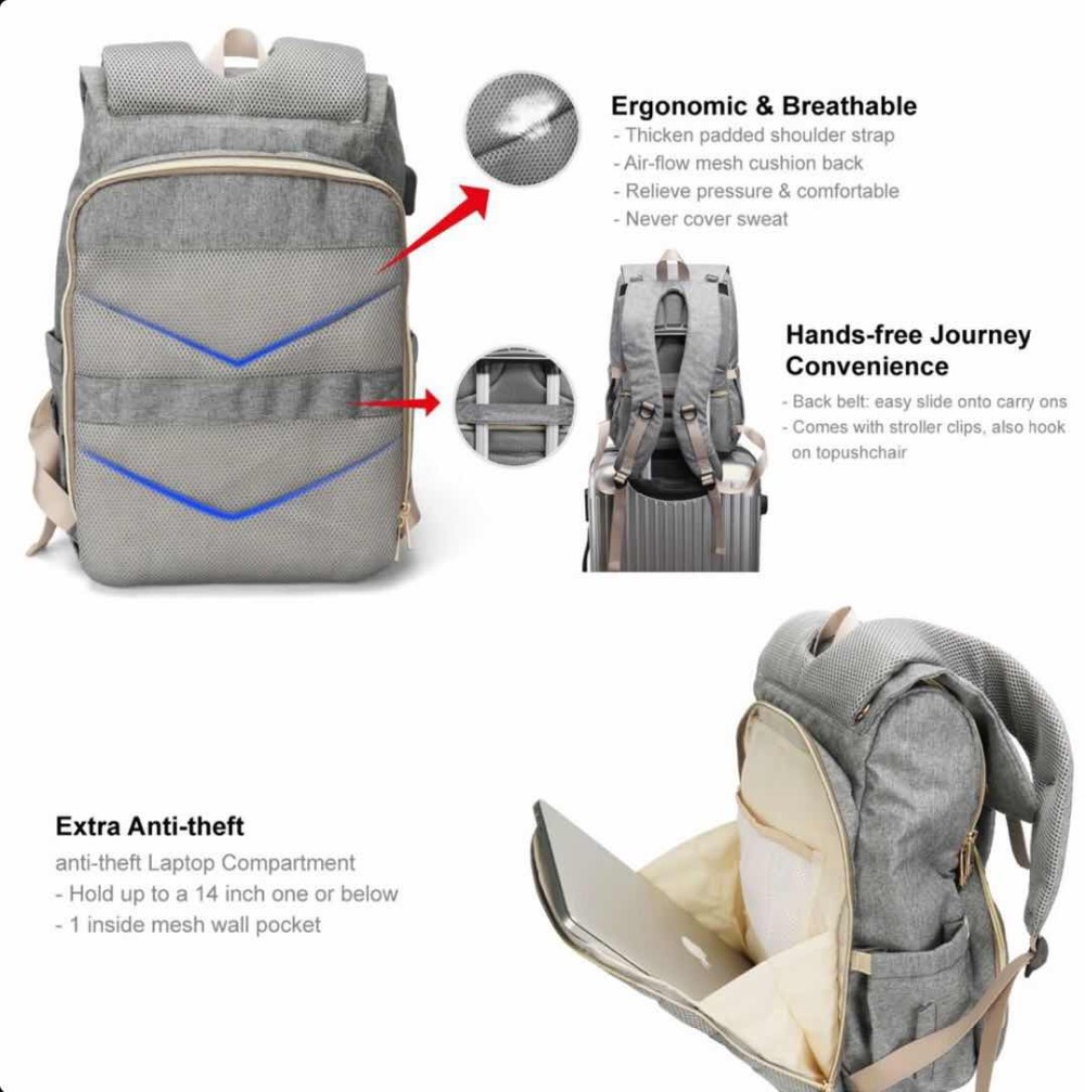 Baby Diaper Bag With Usb Interface Large Capacity Waterproof Nappy Bag Kits Mummy Maternity Travel Backpack Nursing Handbag Be Friendly In Use Back To Search Resultsmother & Kids