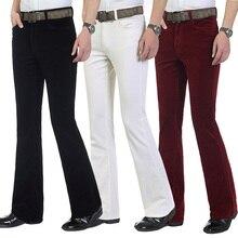Осенняя мода Slim Fit повседневные мужские коммерческие брюки Bootcut вельветовые расклешенные брюки новые мужские эластичные брюки Bell-bottom
