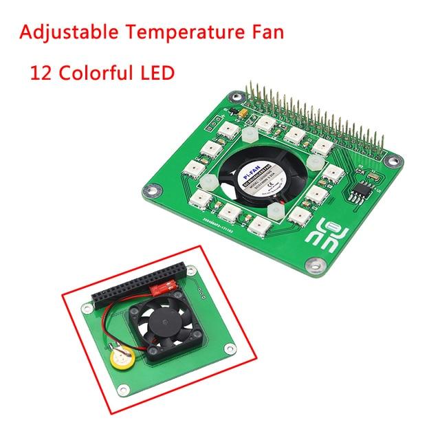 US $22 2 |Raspberry Pi 3 Model B+ CPU Fan Programmable Smart Temperature  Control Fan Full LED Real Time Clock Hat Board for Raspberry Pi-in Demo  Board