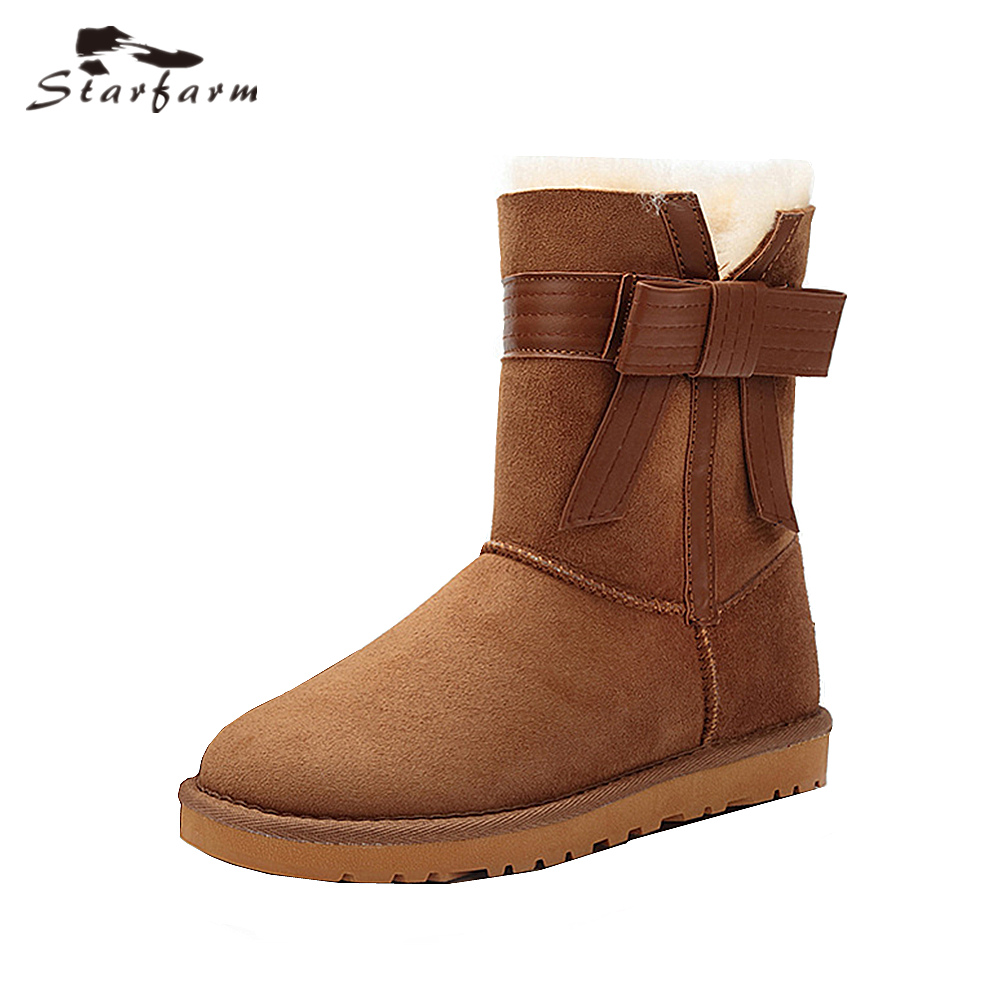 STARFARM Bowknot Bootie Wool Boots Ankle Boots Leather Bootie Winter Snow  Boots Russian Boots Women Shoes Woman Warm Shoes Tan 560ee554e683