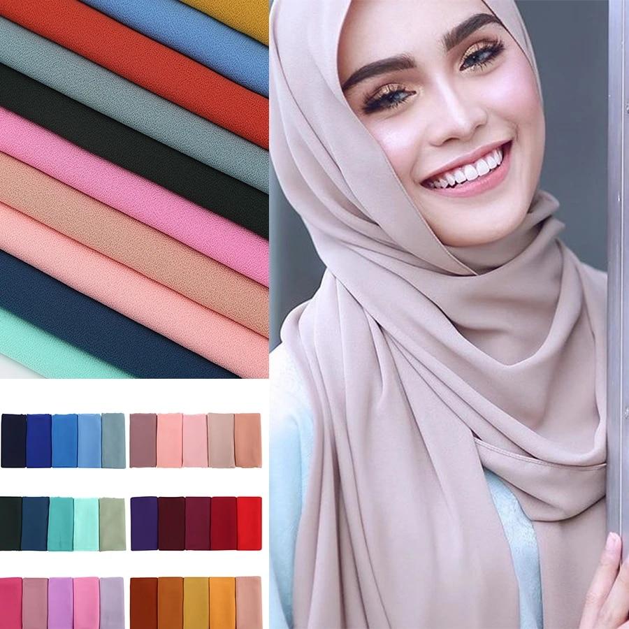 Женский простой шифоновый шарф-пузырь, хиджаб, печать, Ранняя повязка на голову, мусульманские хиджабы, шарфы/шарфы, 60 цветов