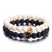 NS74 Newst 7 Chakra Armband Männer Schwarz Lava Healing Balance Perlen Reiki Buddha Gebet Natürliche Stein Yoga Armband Für Frauen