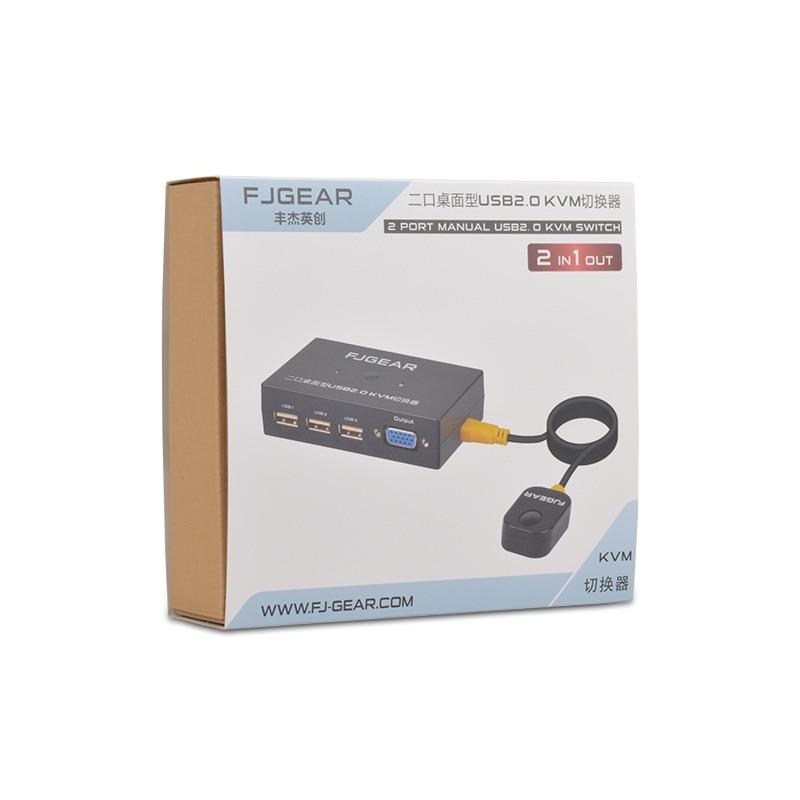 Купить с кэшбэком 2 Port KVM Schalter Switch Box VGA Computer Share Usb Mouse Keyboard Monitor Converter With Connector Cables FJ-201UK
