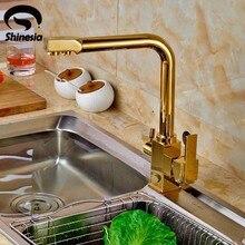 Золото Две Ручки Кухня Очищенной воды Смеситель Кран Чистой Воды Фильтр Палуба Гора