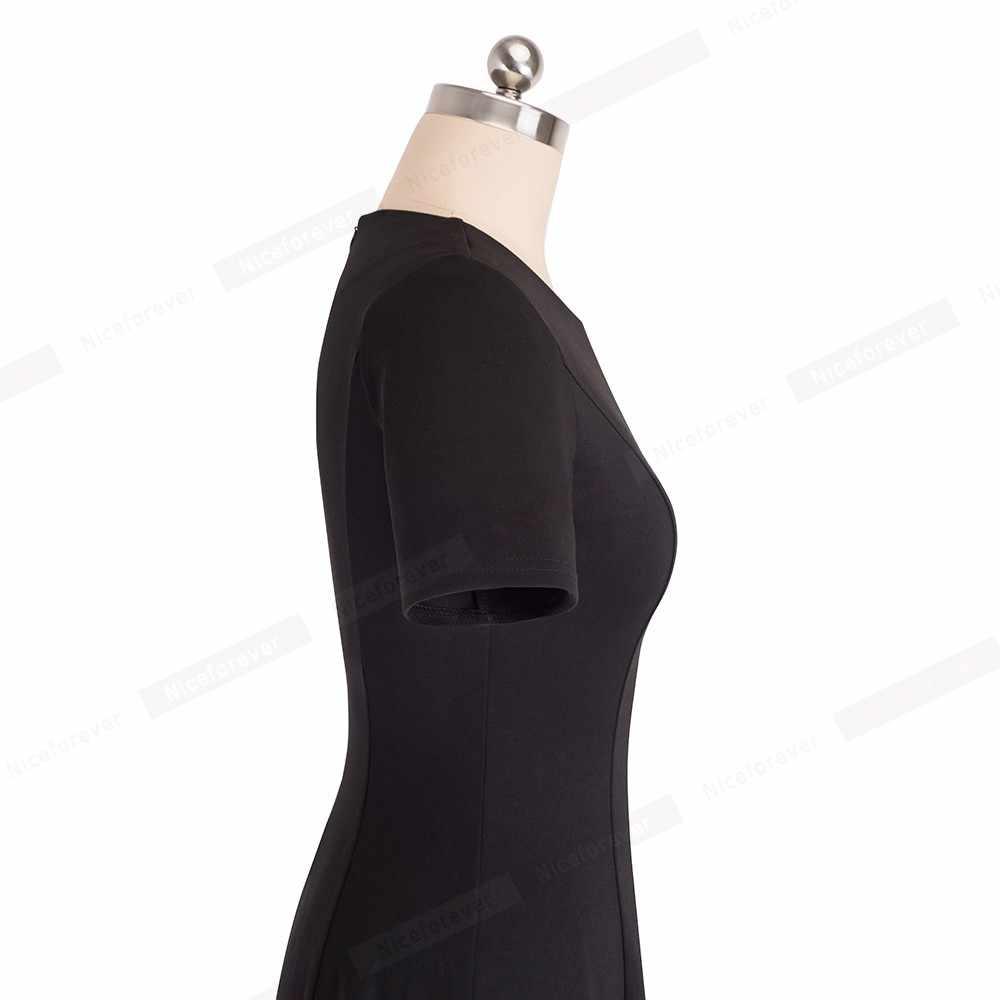 Женское винтажное платье-трапеция Nice-forever, элегантное однотонное платье с круглым вырезом, А-силуэт, для офиса и вечеринок, модель A110, 2019