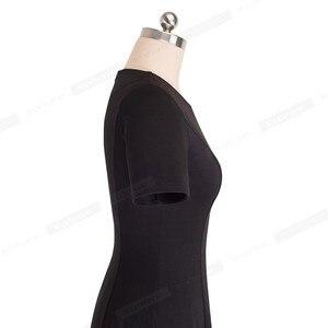 Image 3 - 니스 영원히 빈티지 우아한 라운드 넥 브리프 퓨어 컬러 vestidos 라인 핀업 비즈니스 파티 여성 플레어 블랙 드레스 A110