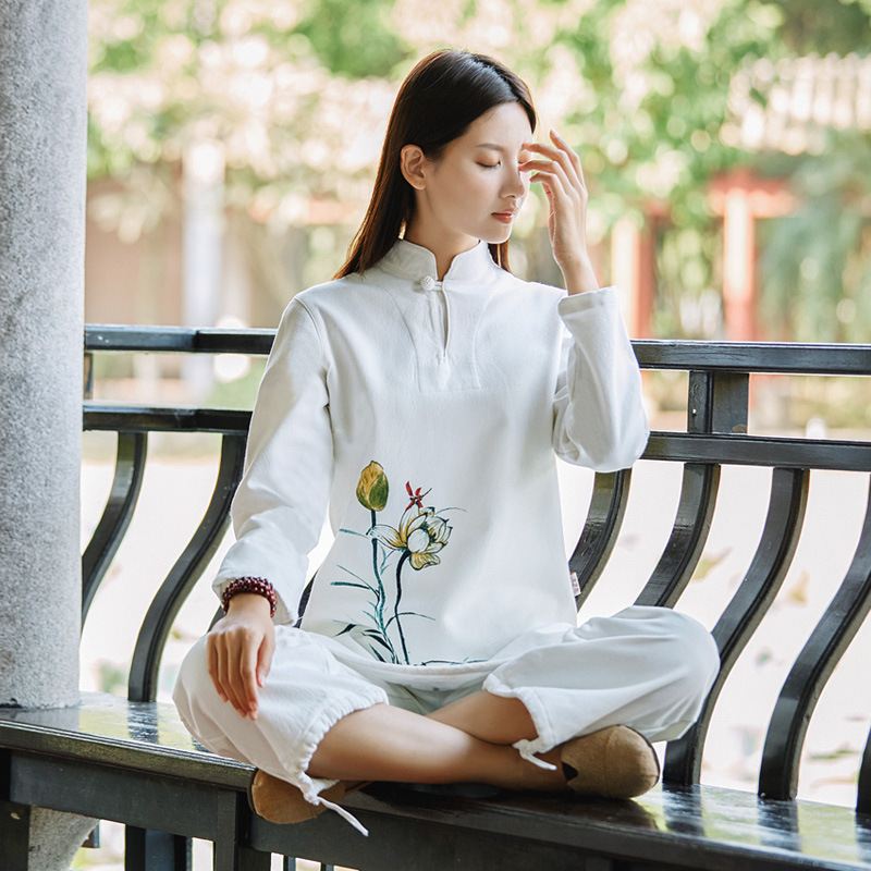 Thicken Women Yoga Clothes Suit Cotton Linen Meditation Chinese Traditional Clothing Sets cotton linen men s yoga suits long sleeved taiji lay clothes plus size breathable meditation martial arts performance clothing