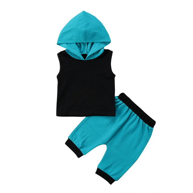 4586982e3ce 2018 Casual Newborn Kids Baby Boy Girl Sleeveless Black Hooded Tops T-Shirt  Blue Pants Outfits Clothes Summer Set