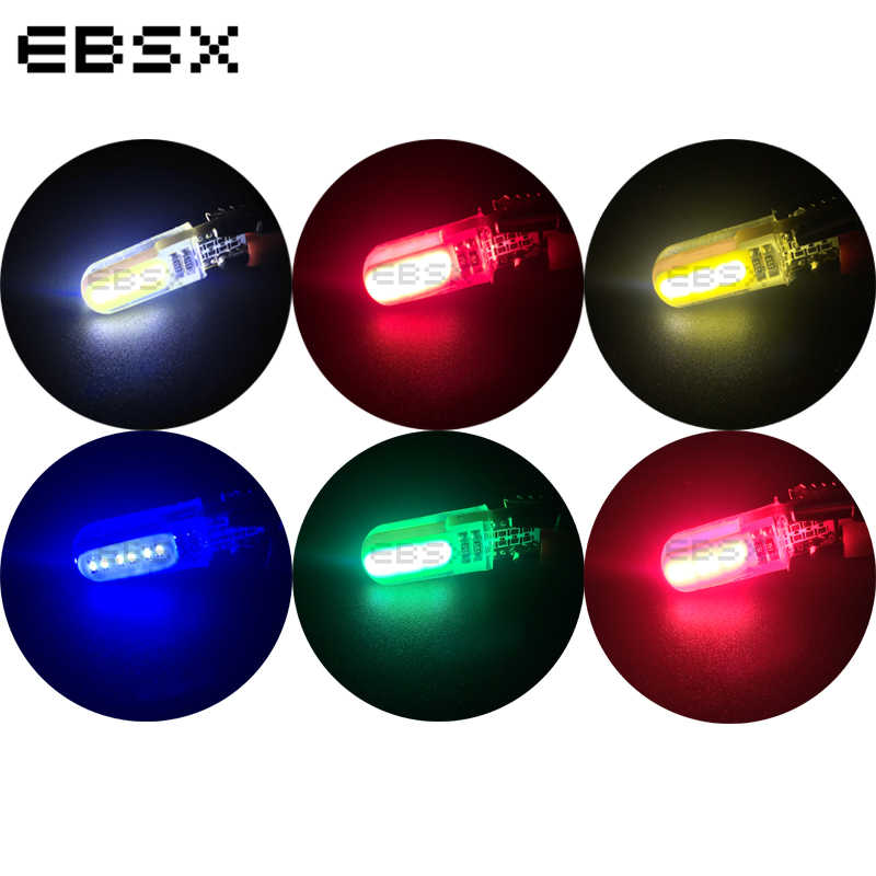 EBSX 10 pcs 12VDC T10 COB 12 Chips Silicone Shell 194 W5W Silicone Case Car Auto Parking Light White Blue Red Green Yellow