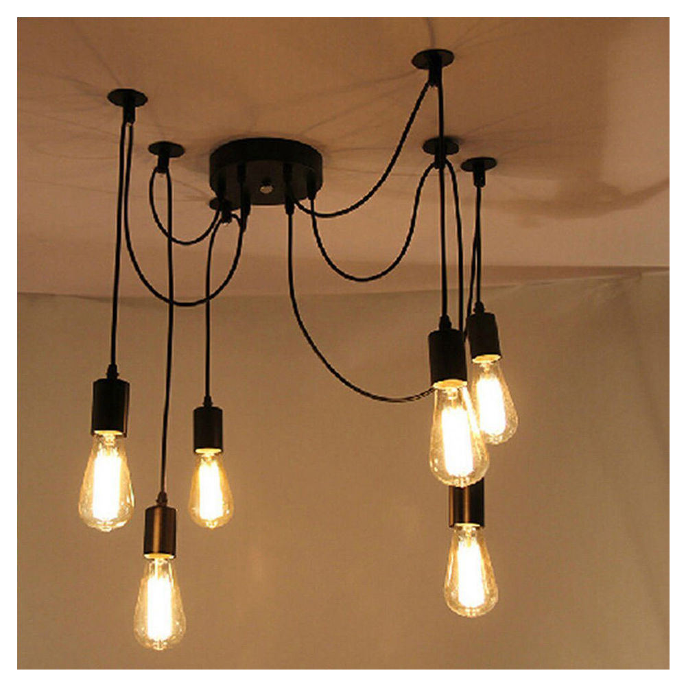 6 Lights Antique Edison Ajustable Diy Ceiling Spider Lamp
