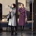 Jaqueta de Inverno feminino Slim com Cinto Para Baixo Casaco Longo Do Joelho-comprimento Ultra Leve Para Baixo Mulheres Jaqueta de Pato Branco Quente Para Baixo Memória tecido