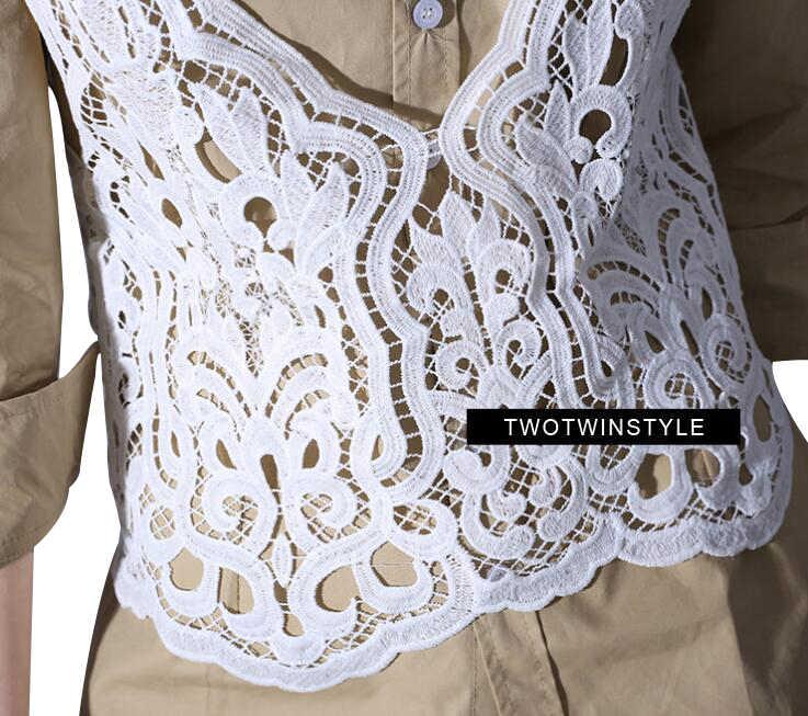 Twotwinstyle Gợi Cảm Áo Yếm Ren Bể Áo Vest Nữ Mùa Hè Áo Crop Top Nữ Thể Dục Quần Áo Thường Đen Hàn Quốc