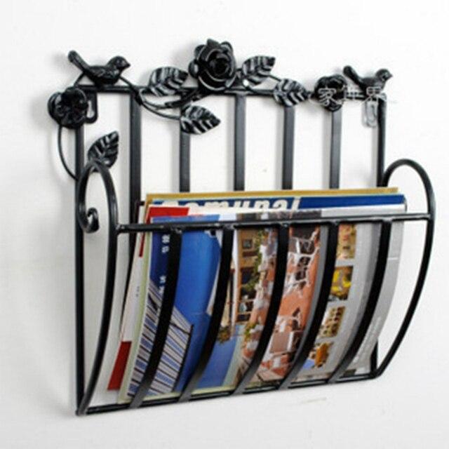 shelf Wall Metal living room newspapers rack books magazine holder 30X13X30cm white black