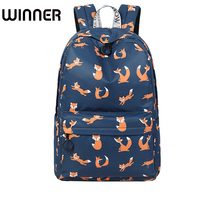 High Quality Waterproof Women Backpack Cute Fox Pattern Printing Female Travel Daily Laptop Knapsack