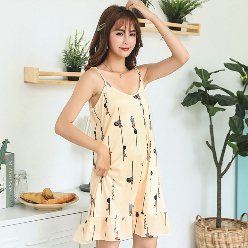 Summer Night Dress Women Sleeveless Female Sleepwear Female Ruffled Hem Cartoon Printed   Nightgowns     Sleepshirts   Girls Nightshirts