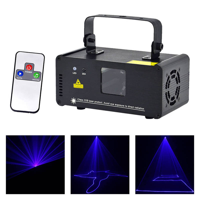 Mini Portable 150mw Blue Beam Laser Scanner Effect 8 CH DMX Stage Lighting DJ Party Show Wireless Remote Projector Light  B150