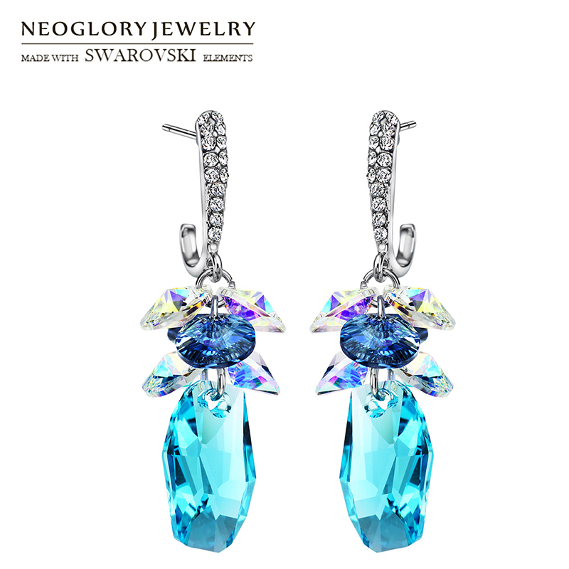Neoglory MADE WITH SWAROVSKI ELEMENTS Crystal & Rhinestone Long Dangle Earrings Trendy Geometric Dress Party Classic Women