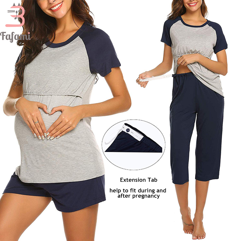 Pajamas Set For Pregnant Women Maternity Sleepwear Nursing Clothes Summer Cotton Breastfeeding Nightwear Home Wear Tops+Shorts