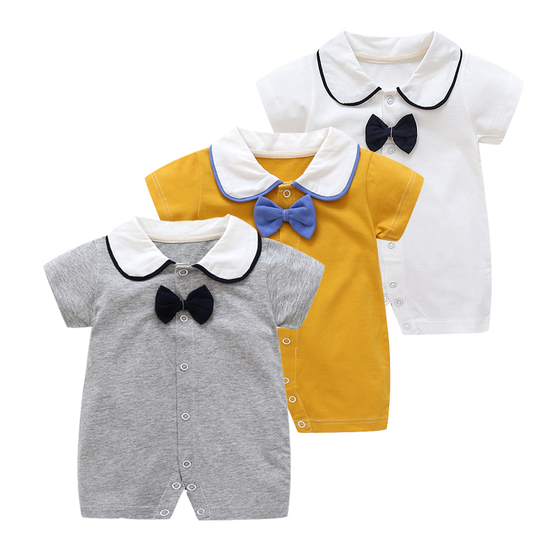 Summer New Baby Clothes Cotton Boys Rompers Pink Gentleman Kids Jumpsuit Short Sleeves New Born Baby Boy Clothes One Pieces