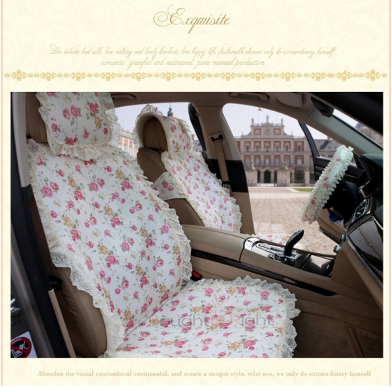 Luxury Princess Lace Silk Car Seat Cover Winter Auto 3 Colors Wholesale Price DHL