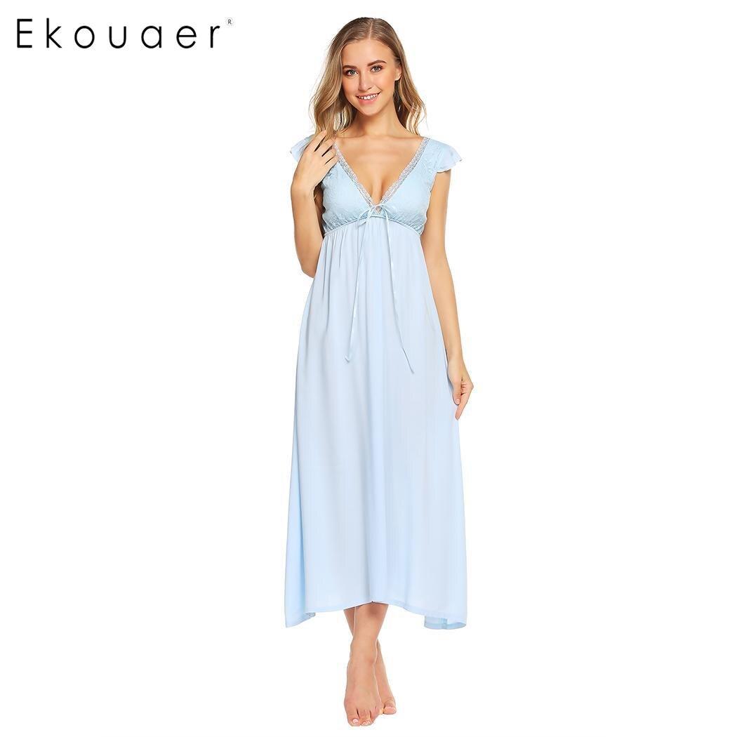 Ekouaer Women Elegant Nightgown Deep V Neck Long Nightdress Backless Lace Cap Sleeve Ladies Sleepwear Loose Homewear Dress