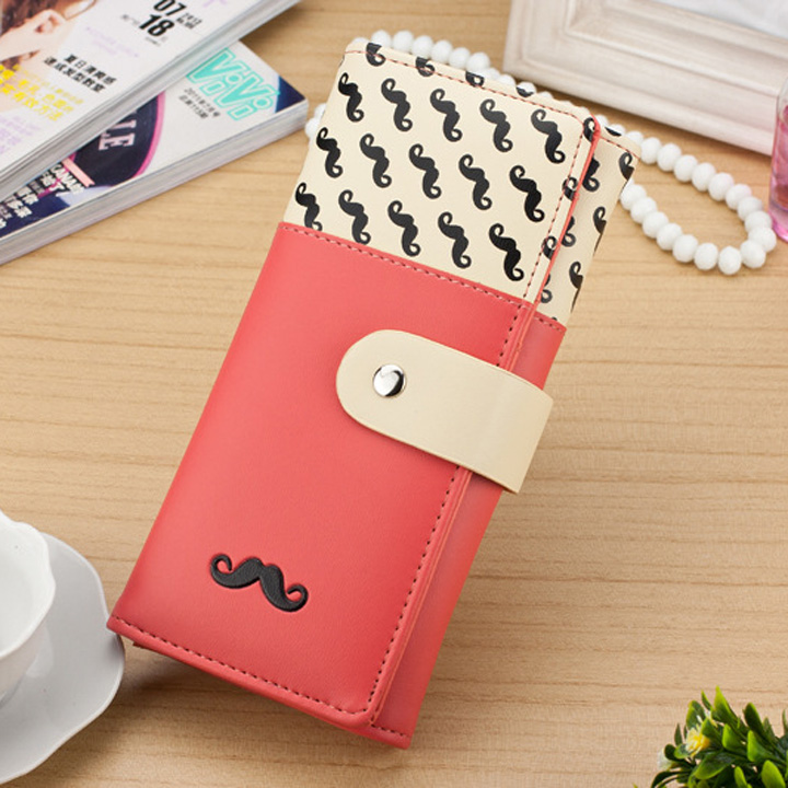 2018 carteira feminina Smooth PU Leather Wallet Cute Mustaches Pattern Purse Clutches Coin Purse Cards Holder Bag for Women AGD 4