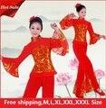 Das Senhoras Das mulheres chinês dança yangko traje Barato Chinês Antigo Traje Nacional Chinês Tradicional Dança do leque De palco Trajes