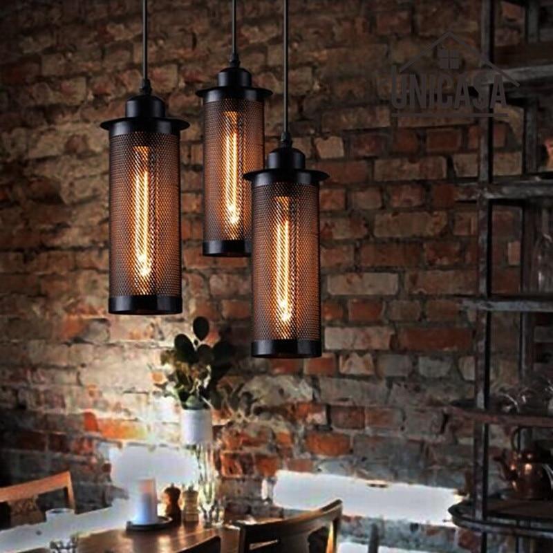 ▻Mini metal Iluminación lámpara industrial negro Lámparas colgantes ...