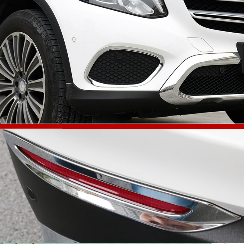 ABS Front & Rear Fog Light Cover Trim 4pcs For Mercedes Benz GLC X253 2015 2018-in Interior Mouldings from Automobiles & Motorcycles    1