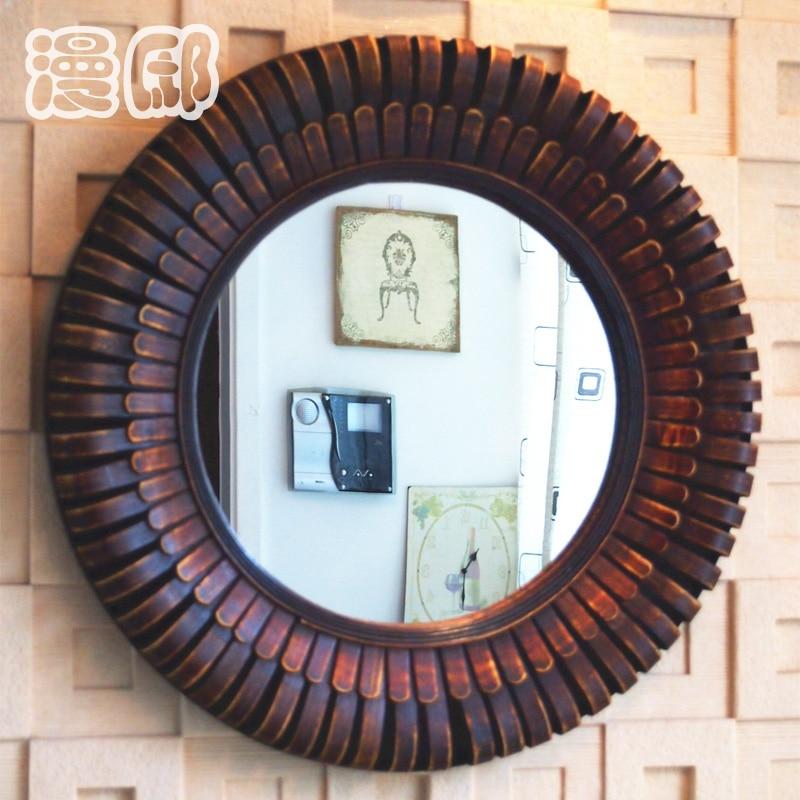 Kingart antiguo bambú y madera Marcos oval espejo de pared salón ...