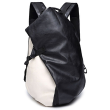 남자 여행 가방 캐주얼 배낭 여행 가방 블랙 배낭 PU 가죽 남자 패션 어깨 가방 빈티지 남자 남자 Bolsa