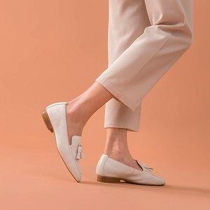 Image 2 - BeauToday mocassins pour femmes, à enfiler, en cuir de vache véritable, à franges bout carré, printemps automne, chaussures plates pour femme, fait à la main, 27147