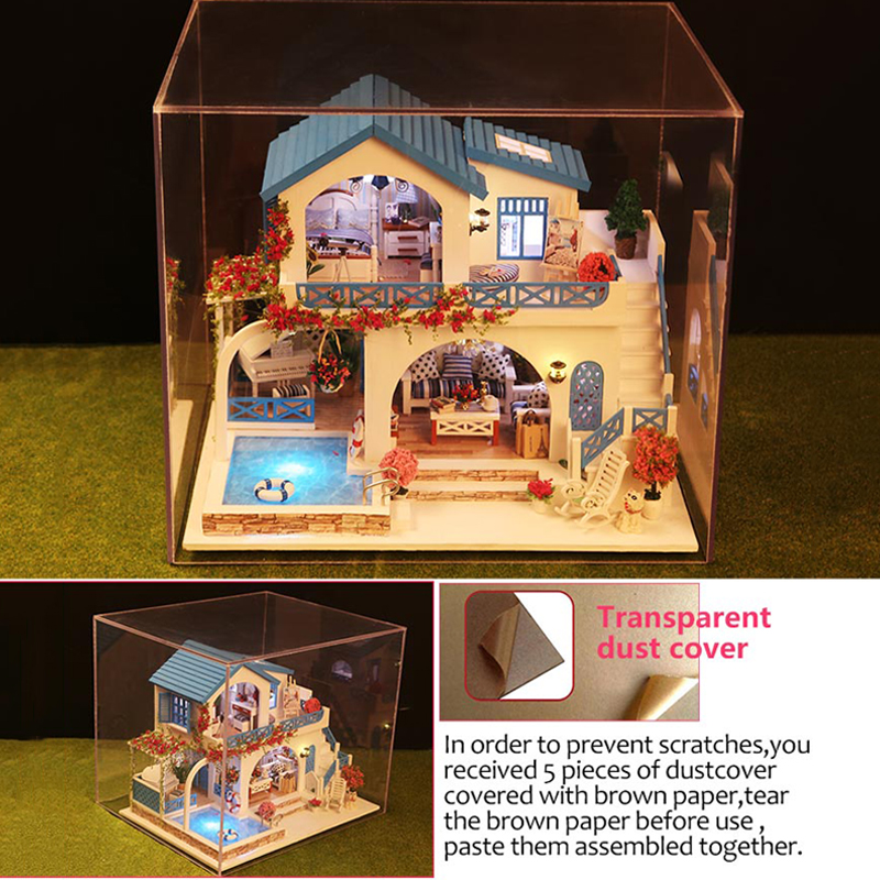 Doll House DIY Miniature Dollhouse with Swimming Pool Town Model Wooden Toy Furnitures Doll's House Dust Cover LED Birthday Gift diy wooden model doll house manual assembly house miniature puzzle handmade dollhouse birthday gift toy pandora love cake