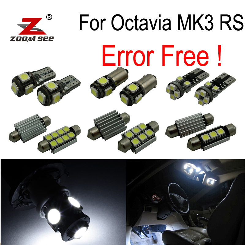 12pcs license plate lamp LED bulb Interior dome Light Kit for Skoda Octavia 3 MK3 MK III 5E3 RS TDI TSI (2013+) 12pcs canbus white led light bulbs interior package kit for 2007 2012 mazda cx 7 cx7 map dome trunk license plate lamp pink