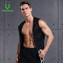 Vansydical Men's Running Vest Zipper Hoodie Tank Jogger Sweatshirts Fitness Clothes Bodybuilding Tops Training Jackets