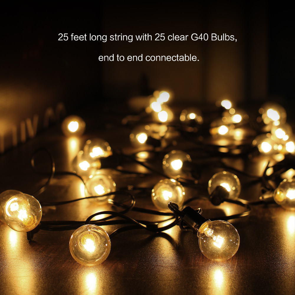 GiveU G40 Outdoor String Light Bulbs Listed, Indoor Outdoor Halloween Decor,Christmas Decoration