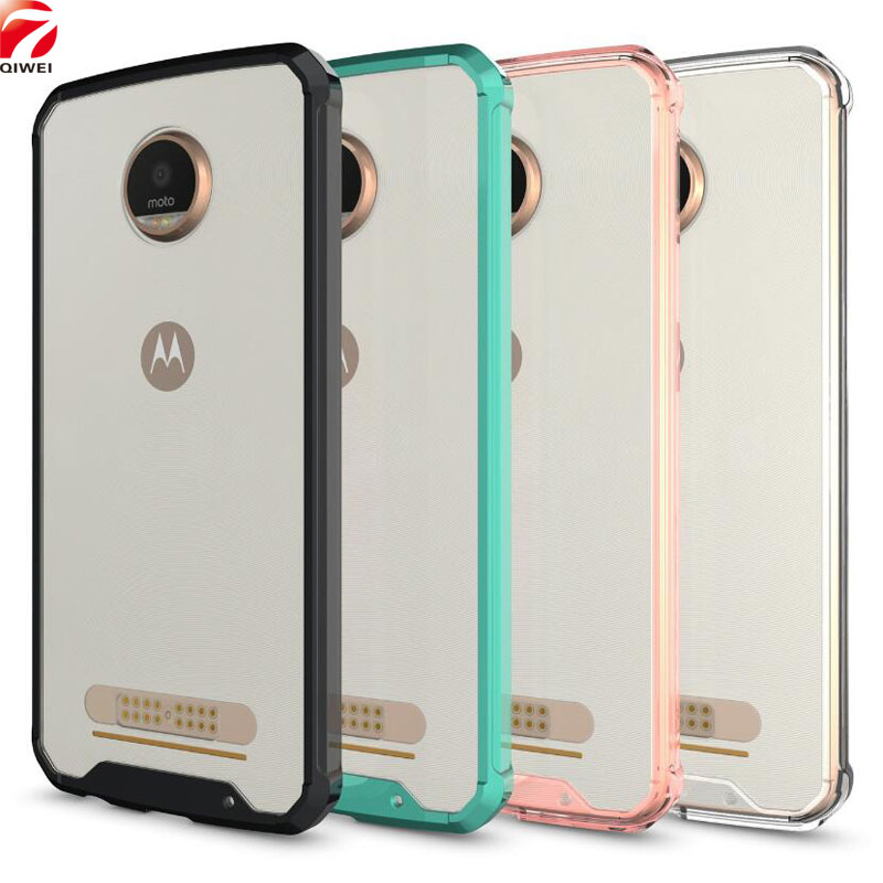 For Motorola MOTO Z Play Case Crystal Hybrid Bumper Clear Hard Acrylic Back Cover for MOTO Z Play / XT1635 / Vertex Phone Cases